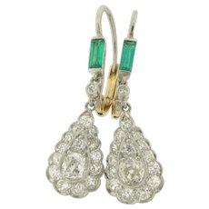 Stunning Pair Of Art Deco Old Mine Cut Diamond Emerald Platinum Earrings