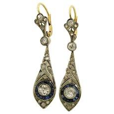 Stunning Original Art Deco Diamonds Sapphires Platinum 18K Yellow Gold Earrings