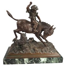 Antique Otto Rasmussen Bronze Sculpture Of A Boy With Donkey Dog Marble Base