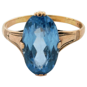 Vintage Oval Shape Blue Topaz 18K Yellow Gold