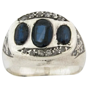 Original Art Deco 14k White Gold Blue Sapphire Rose Cut Diamond Ring