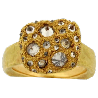 Todd Pownell Tap Amorphous 18K Yellow Gold Hand Hammered Inverted Diamond Ring