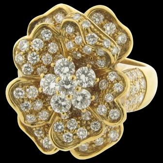 Stunning Leo Pizzo 3.70 Carat Diamond Flora Ring 18K Yellow Gold
