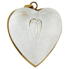 Steuben Glass Heart Shape Teardrop Pendant With 18k Gold Frame By Eric Hilton
