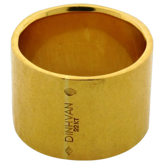 Dinh Van Paris 22k Hand Hammered Yellow Gold Thick Band Ring