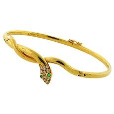 Vintage French Snake Design Diamond Emerald 18K Yellow Gold Bangle Bracelet