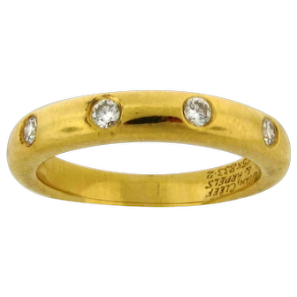 Vintage Van Cleef & Arpels Four Diamond 18k Yellow Gold Ring Original Box