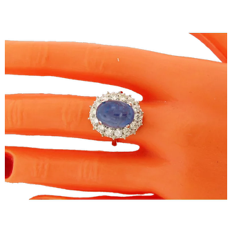 Vintage 10.19 Natural Cabochon Sapphire Diamonds 18k White Gold Ring GIA