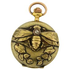 Antique Art Nouveau Bee Design Swiss Diamond 18K Yellow Gold Pendant Watch