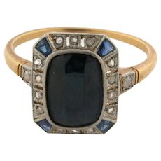 Original Art Deco 2.25 Carat Sapphire Diamonds Platinum 18K Gold Ring