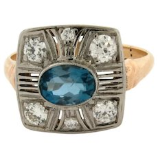 Original Art Deco Aquamarine Diamonds Platinum 14K Yellow Gold Ring