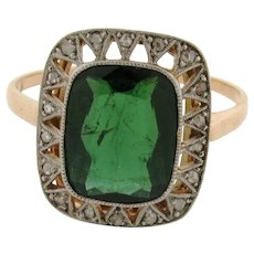 Antique Edwardian Tourmaline Diamonds Platinum 14K Gold Ring