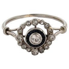 Original Art Deco Platinum Diamonds Sapphires Halo Ring