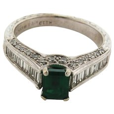 Vintage .75 Carat Columbian Emerald Baguette Diamonds 14K White Gold Ring