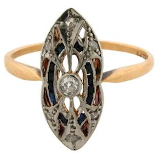 Original Edwardian Filigree Diamonds Sapphires Platinum18K Gold Ring