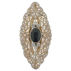 Vintage Art Deco Filigree 1.00 C Sapphire Diamonds Plat 18K Yellow Gold Ring