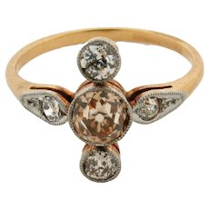 Original Art Deco Fancy Cognac White Diamonds 18K Yellow Gold Ring