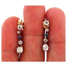 Stunning Edwardian Old Mine Cushion Cut Diamonds Sapphires Dangle Earrings
