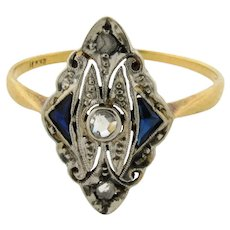 Original Art Deco Diamonds Sapphires Marquise Filigree Platinum 18K Gold Ring
