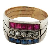 Antique French Sapphires Rubies Diamonds 18K Multicolor Gold Ring