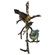 Antique Austrian Vienna Bronze Statue Two Birds On Branch
