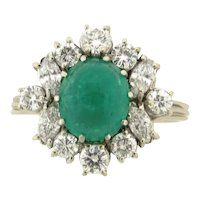 Vintage Platinum Cabochon 3.5 Carat Emerald Diamonds Platinum Statement Ring