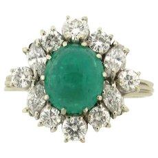 Vintage Platinum Cabochon 3.5 Carat Emerald Diamonds Platinum Statement Ring