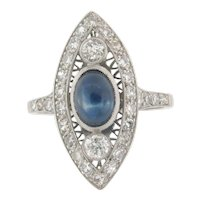 Vintage 1.57 Cabochon Sapphire Diamonds Marquise Shape Platinum Ring