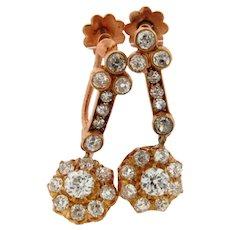 Antique Old Mine Cut Diamonds 18K Yellow Gold Dangle Earrings