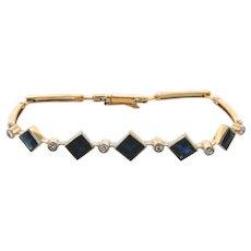 French Art Deco Designer Sapphire Diamonds 18K Gold Bracelet