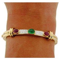 Vintage Bi Color Cabochon Ruby Emerald Diamond 14K Gold Bangle Bracelet