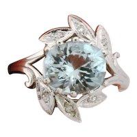 Vintage Designer 14K White Gold Aquamarine Diamonds Ring Signed Lori