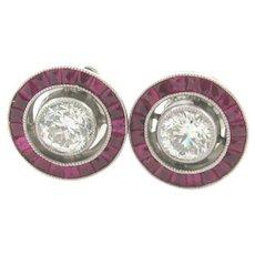 Art Deco Rubies 1.20 C Diamonds Platinum Halo Earrings