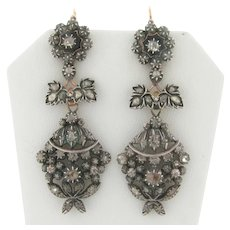 Antique Victorian Rose Cut Diamonds Silver 18K Yellow Gold Dangle Earrings