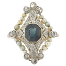 Antique Edwardian Sapphire Diamonds Seed Pearls Filigree Platinum 18k Gold Ring