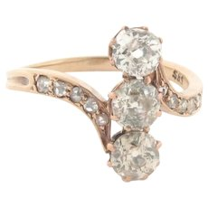 Antique 3 Old Mine Cut 10 Rose Cut Diamonds 14K Yellow Gold Ring