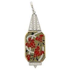 Masrieara Art Nouveau Plique A Jour Floral Enamel Diamond 18K Gold Pendant Box