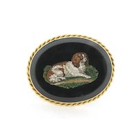Stunning Antique Micro Mosaic King Charles Dog 14K Gold Ring