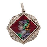 Stunning Antique Victorian Enamel Platinum Diamonds 18K Yellow Gold Pendant