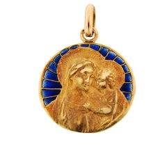 Antique Art Nouveau Plique A Jour French 18K Yellow Gold Pendant