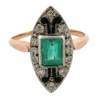 Stunning Original Art Deco Emerald Onyx Diamond Platinum 18k Yellow Gold Ring
