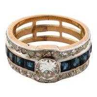 Original Art Deco .60 C Center Diamonds Sapphires 18K Yellow Gold Ring