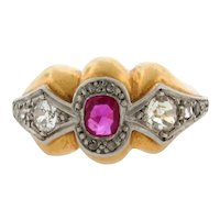 Original Art Deco Designer Ruby Diamonds Platinum 18K Yellow Gold Ring