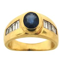 Vintage Oval Sapphire Baguette Diamonds 14K Yellow Gold Ring