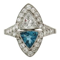 Art Deco Triangular .70 C Diamonds Aquamarine Platinum Ring
