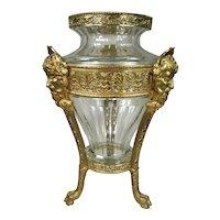 Antique Gilt Bronze Mythological Faces Cut Crystal Baccarat Vase Center Piece
