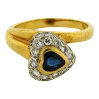 Vintage Designer Italian Heart Shape Sapphire Diamonds18K Yellow Gold Ring