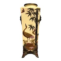 Antique English Royal Worcester Chinoiserie Style 19th Century Porcelain Vase