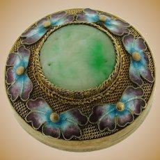 Vintage Gilt Filigree Chinese Sterling Silver Enamel Jade Pill Box