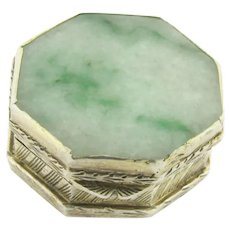 Vintage Chinese Gilt Sterling Silver Double Sided Jade Pill Box